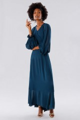 Drexcode - Teal dress in silk georgette - Daphne - Rent - 5