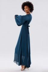 Drexcode - Teal dress in silk georgette - Daphne - Rent - 4