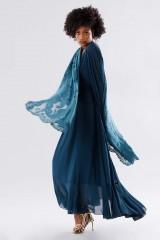 Drexcode - Teal dress in silk georgette - Daphne - Rent - 7