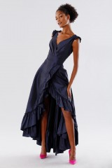 Drexcode - Blue taffeta dress with ruffles - Daphne - Rent - 4