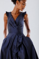 Drexcode - Blue taffeta dress with ruffles - Daphne - Rent - 3
