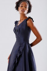 Drexcode - Blue taffeta dress with ruffles - Daphne - Rent - 5