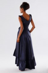 Drexcode - Blue taffeta dress with ruffles - Daphne - Rent - 6