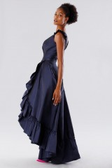 Drexcode - Blue taffeta dress with ruffles - Daphne - Rent - 8
