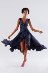 Drexcode - Blue taffeta dress with ruffles - Daphne - Rent - 2