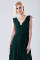 Drexcode - Green lace dress with drapery - Daphne - Rent - 2