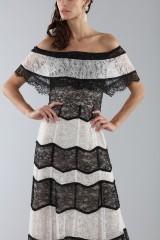 Drexcode - Striped lace off shoulder dress  - Alice+Olivia - Sale - 6