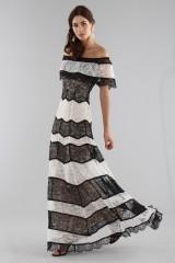 Drexcode - Striped lace off shoulder dress  - Alice+Olivia - Sale - 4
