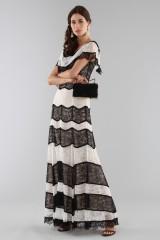 Drexcode - Striped lace off shoulder dress  - Alice+Olivia - Sale - 7