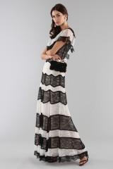 Drexcode - Striped lace off shoulder dress  - Alice+Olivia - Sale - 2