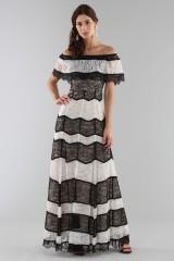 Drexcode - Striped lace off shoulder dress  - Alice+Olivia - Sale - 1