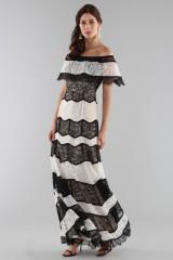 Drexcode - Striped lace off shoulder dress  - Alice+Olivia - Sale - 3