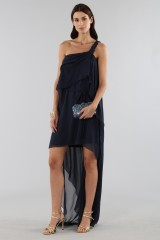 Drexcode - Asymmetric blue silk dress - Alberta Ferretti - Rent - 3
