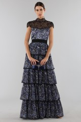 Drexcode - Blue dress with overlapping frills - Alice+Olivia - Sale - 5