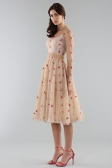 Drexcode - Short nude dress with embroidery - Luisa Beccaria - Rent - 3