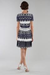 Drexcode - Short dress in blue and white lace - ML - Monique Lhuillier - Sale - 3