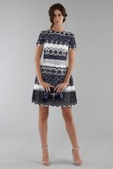 Drexcode - Short dress in blue and white lace - ML - Monique Lhuillier - Sale - 1