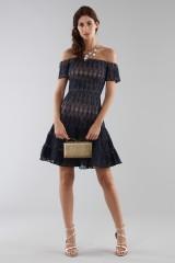 Drexcode - Off-shoulder blue lace dress  - ML - Monique Lhuillier - Sale - 2
