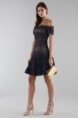 Drexcode - Off-shoulder blue lace dress  - ML - Monique Lhuillier - Sale - 6