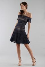 Drexcode - Off-shoulder blue lace dress  - ML - Monique Lhuillier - Sale - 3
