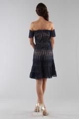 Drexcode - Off-shoulder blue lace dress  - ML - Monique Lhuillier - Sale - 1