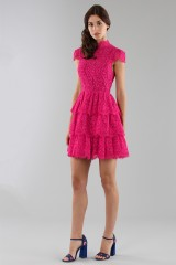Drexcode - Fuchsia lace dress with skirt - Alice+Olivia - Rent - 6