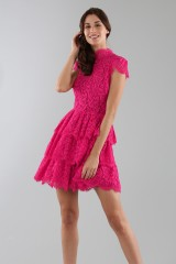 Drexcode - Fuchsia lace dress with skirt - Alice+Olivia - Rent - 8