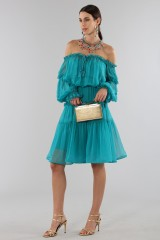 Drexcode - Off-shoulder silk dress with elastic - Alberta Ferretti - Rent - 3