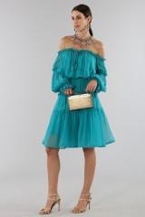 Drexcode - Off-shoulder silk dress with elastic - Alberta Ferretti - Sale - 3