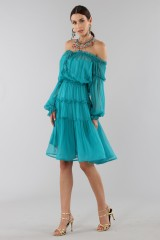 Drexcode - Off-shoulder silk dress with elastic - Alberta Ferretti - Sale - 5
