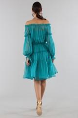 Drexcode - Off-shoulder silk dress with elastic - Alberta Ferretti - Sale - 4