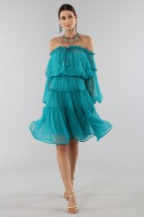 Drexcode - Off-shoulder silk dress with elastic - Alberta Ferretti - Sale - 6