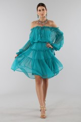 Drexcode - Off-shoulder silk dress with elastic - Alberta Ferretti - Sale - 2