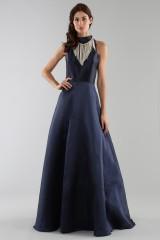 Drexcode - Blue dress with a back teardrop neckline - ML - Monique Lhuillier - Rent - 3
