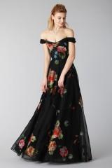 Drexcode - Long off shoulder black dress with floral pattern - Marchesa Notte - Rent - 8