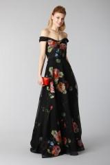 Drexcode - Long off shoulder black dress with floral pattern - Marchesa Notte - Rent - 6