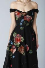 Drexcode - Long off shoulder black dress with floral pattern - Marchesa Notte - Rent - 2