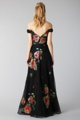 Drexcode - Long off shoulder black dress with floral pattern - Marchesa Notte - Rent - 5