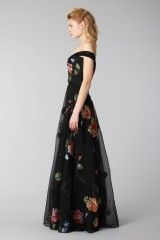 Drexcode - Long off shoulder black dress with floral pattern - Marchesa Notte - Rent - 4