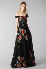 Drexcode - Long off shoulder black dress with floral pattern - Marchesa Notte - Rent - 1