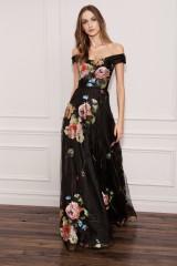 Drexcode - Long off shoulder black dress with floral pattern - Marchesa Notte - Rent - 9