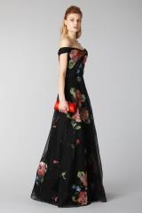 Drexcode - Long off shoulder black dress with floral pattern - Marchesa Notte - Rent - 7