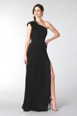 Drexcode - Black dress with single shoulder silk - Cristallini - Rent - 5