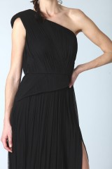 Drexcode - Black dress with single shoulder silk - Cristallini - Rent - 4
