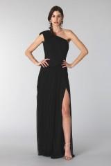 Drexcode - Black dress with single shoulder silk - Cristallini - Rent - 3