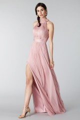 Drexcode - Pink silk dress with split and transparencies - Cristallini - Rent - 4