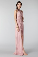 Drexcode - Pink silk dress with split and transparencies - Cristallini - Rent - 5