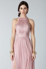 Drexcode - Pink silk dress with split and transparencies - Cristallini - Rent - 3