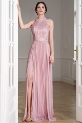 Drexcode - Pink silk dress with split and transparencies - Cristallini - Rent - 7