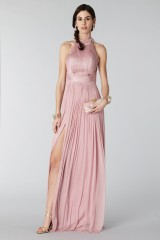Drexcode - Pink silk dress with split and transparencies - Cristallini - Rent - 6
